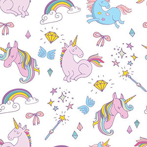 White Unicorn Rainbow Print | High Quality | Fabric | Per Metre