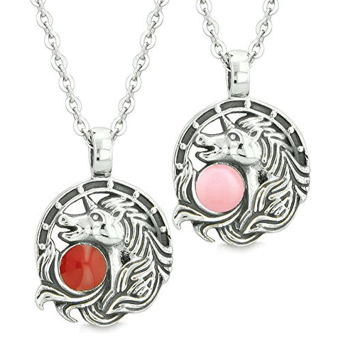 Unicorn Best Friends or Love Couples Amulets Lucky Horse Shoe Cherry Red Baby Pink Pendant Necklaces