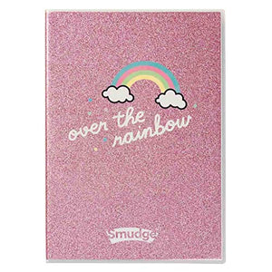 Smudge Stationery Girls Glitter Notebook- Unicorn Diary Over The Rainbow | A4