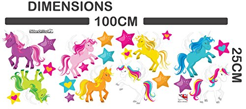 Colourful Unicorns with Stars - Pack of 22 - Wall Art Vinyl Printed Stickers