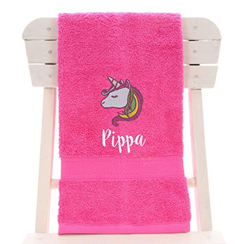 Personalised Children's 100% Cotton Bath Towel With Unicorn | 70cm x 130cm | Pink