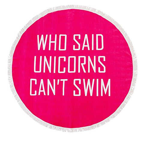 Slogan unicorn round beach towel. Bright pink.