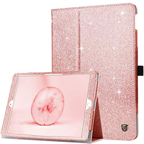 Rose Gold iPad 10.2 2019 Case, New iPad 8th Generation Case, iPad 7th Gen Case Leather, Dual Layer Sparkly Glitter Protective Flip Folio Case for iPad 10.2 2019 / iPad 8th Gen 2020 Case