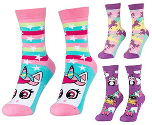 Unisex Girls Boys Cotton Odd Socks | 3 Pairs Set + Box Unicorn | UK 3-6 | EUR 36-39 | FRINGOO