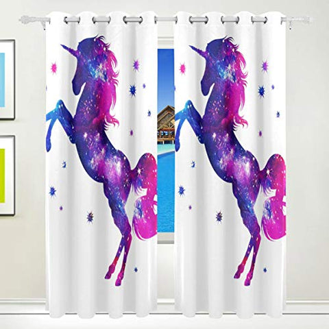 Blackout Unicorn Star Curtains Pink, Purple, White