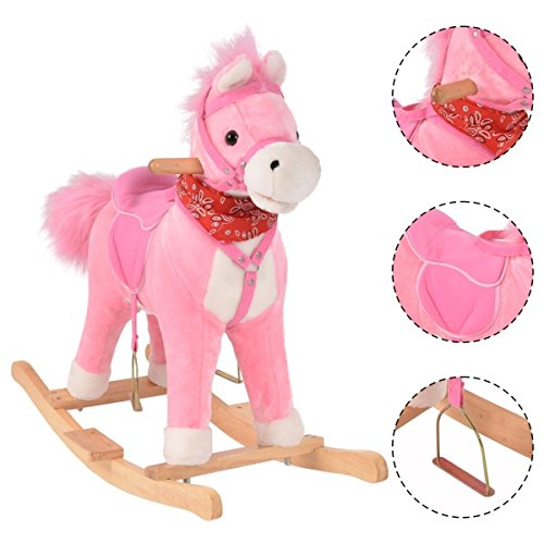 Unicorn Rocking Horse with Music Function, Handle Grip, Active Mouth, Wagging tail, 40KG Capacity, Kids & Children Traditional Toy (Pink)