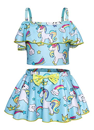 Rainbow unicorn 2 piece swimming costume girls