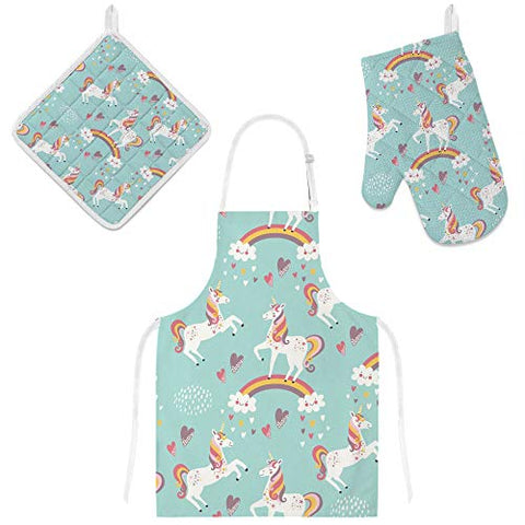 Cute Unicorn Rainbow Apron & Oven Glove, Mitt Pot Holder Set