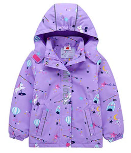 iDrawl Girls Unicorn Waterproof Jacket | Coat | Hooded Purple Raincoat