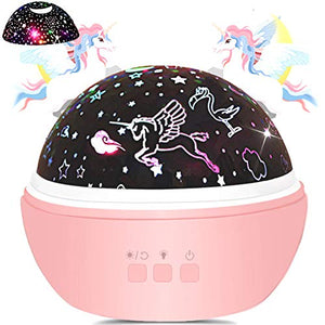 Unicorn & Star Night Light Projector For Kids & Toddlers | Rotating | Pink