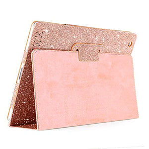 iPad 2 3 4 Glitter Case, FANSONG Sparkle Bling PU Leather Smart Cover [Flip Stand Function] [Auto Sleep/Wake] Case for Apple iPad 2/3/4, Rose Gold