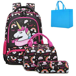 Unicorn backpack rucksack set black and pink