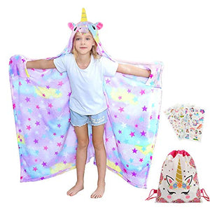 Hooded Unicorn & Stars Blanket | Throw For Girls | Fleece | Multicoloured