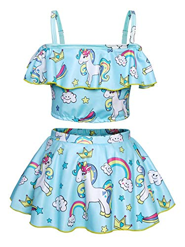 Blue Unicorn Swimming Costume for Girls Blue Tankini style