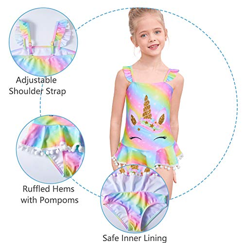 Girls Unicorn Swimming Costume One Piece Swimsuit with Skirt
