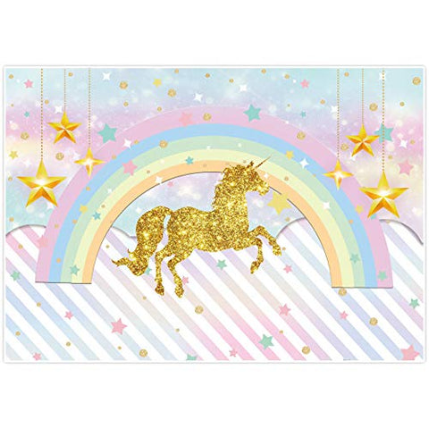 Rainbow Magical Unicorn Backdrop | Girl Birthday Party Photo Background, Photo Booth Studio