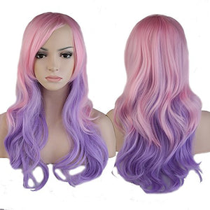 Curly Mix Ombre Pink Purple Hair | Unicorn Wig | Cosplay Fancy Dress