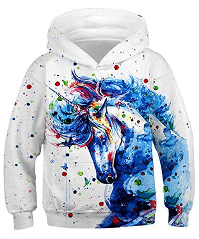 Kids Fun Splash Unicorn Graphic Pullover Sweatshirt Hooded Top | Girls, Boys