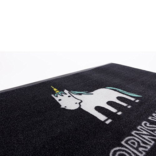 A unicorn doormat? Brilliant - black with fun quote