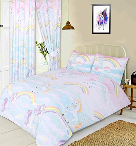 Single Bed Unicorns, Duvet / Quilt Cover Set BY MY HOME, Novelty Unicorns Rainbows Clouds Sky, White Pink Blue Yellow Orange Lilac Purple