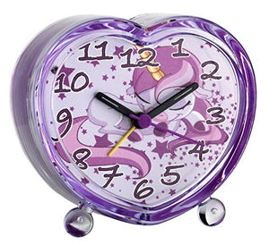 Cute purple unicorn alarm clock. Kids bedside table. Sleeping unicorn and stars design. Backlit, silent sweep hands.