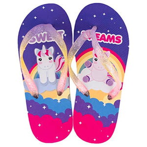 Girls multicoloured unicorn sweet dreams flip flops