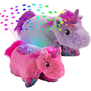 Pillow Pets-Colorful Unicorn Slumber Pack - Lavender Unicorn Pillow Pet & Pink Unicorn Sleeptime Lites