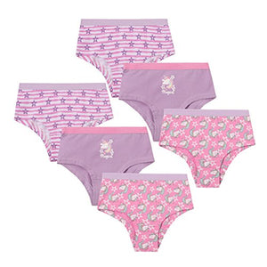 Girls Novelty Cotton Rich Shortie Knickers | Unicorn | 6 Pairs