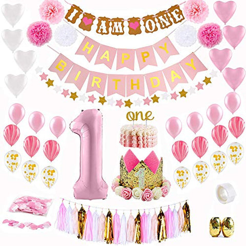 1st Birthday Decoration Set, 61pcs Baby Girl First Birthday Party Decoration Kit | Pink, Gold