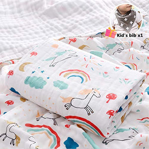 Unicorn Print Muslins Swaddle Blanket for Newborn/Baby (110x108cm,Rainbow Unicorn)
