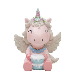 Resin Unicorn Cake Topper, Party Decoration For Wedding Birthday Party (Pink)