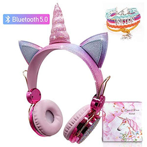 Kids Unicorn Headphones Wireless | Bluetooth | Pink Rainbow Glittery