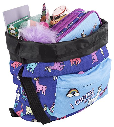 FRINGOO® Kids Drawstring Bag Large School Backpack PE Kit Bag Zipped Front Pocket (Lamacorn - Drawstring Backpack)