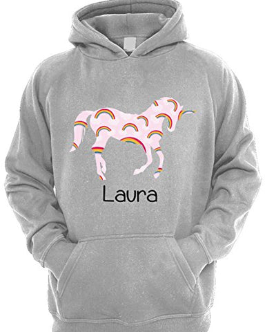 Girl's Personalised Rainbow Unicorn Hoodie