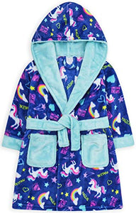 Girls Unicorn Dressing Gown | Kids | Neon Rainbow Hooded Fleece | Jolly Rascals