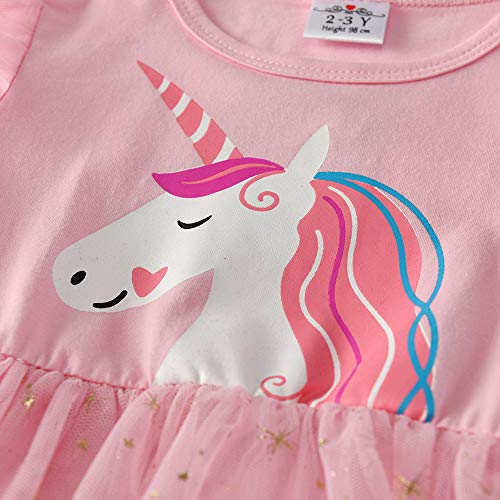 Girls Unicorn Princess Tulle Long Sleeve Party Casual Dress - Pink