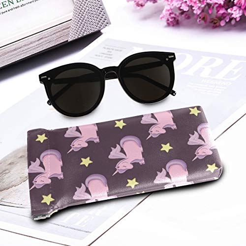 Pink purple yellow unicorn glasses case