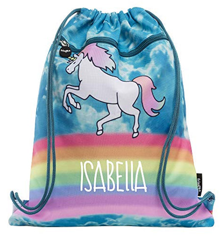 Personalised Kids Unicorn & Rainbow  Bag | PE, Swimming, Gym, School