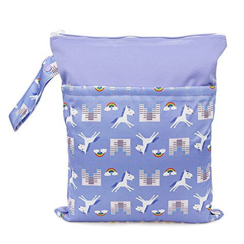 Lilac Reusable Unicorn Nappy Sack Bag