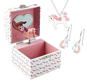 Unicorn Musical Jewellery Box with Earings and Necklace