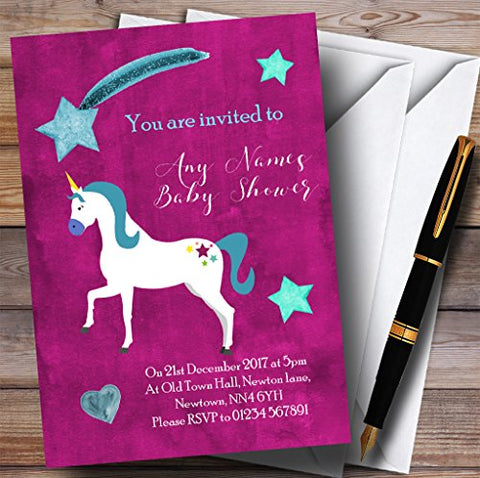 10 x Invitations Unicorn Invitations | Baby Shower Invites | 10 x Purple & Gold Magical Unicorn Invites | Baby Shower |  Pink