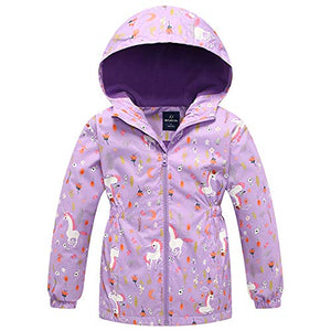 Waterproof Jacket For Girls | Unicorn Pattern | Rain Jacket | 2-9 Years | Lilac
