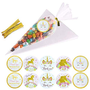 Sweet Cone Bags with Unicorn Thank You Stickers for Party and Sweets