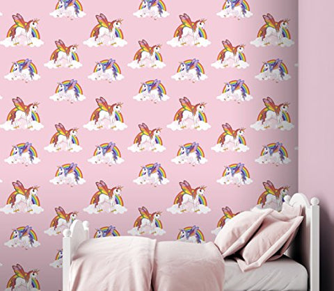 Unicorn My Little Pony Wallpaper. Rainbows and clouds, pink girls bedroom.