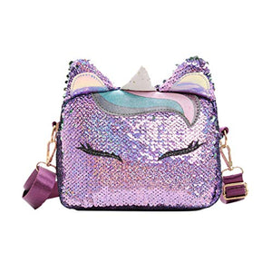 Sequined Unicorn Handbags | Crossbody Purse Bag | Purple