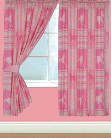 Pink Unicorn Themed Curtains Girls Bedroom