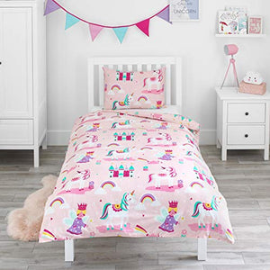 Magic Unicorn, Fairy Princess & Enchanted Castle - Kids Bedding Set - Pink - Single