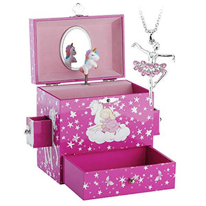 Unicorn Themed Musical Jewellery Box with Drawer and Jewellery Set- Girls