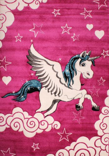 Cute Girls Pink Unicorn Rug with Stars, Clouds. Perfect for bedroom, nursery, playroom!