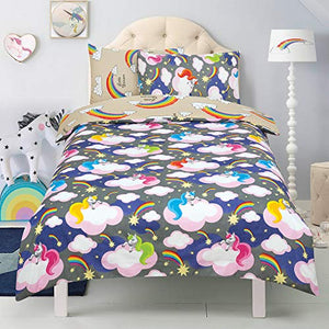 Multicoloured Unicorns & Rainbow Duvet Cover | Single